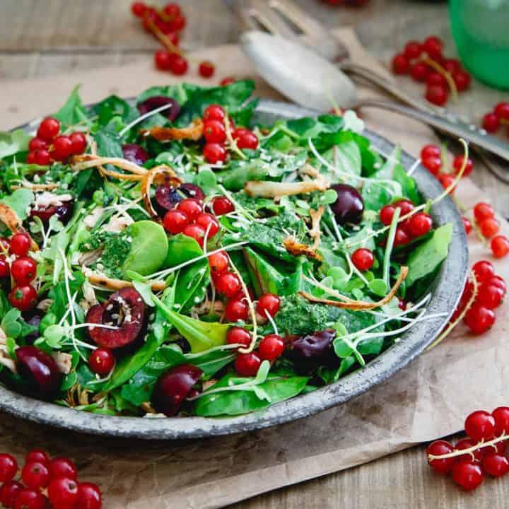 Baby Kale Chicken Cherry Salad