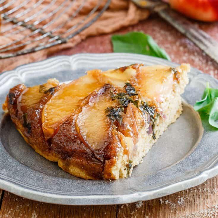 Basil Nectarine Upside Down Cake