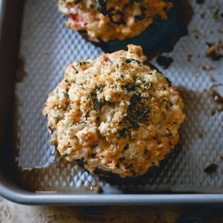 Black Garlic Cheese and Turkey Stuffed Portobello Mushrooms