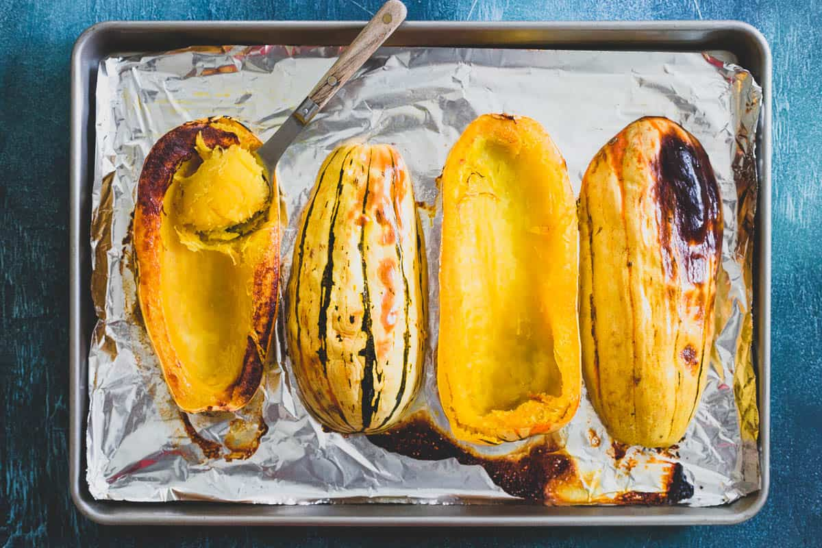 Roasting the delicata squash before making the soup brings out the lovely subtly sweet flavor of the squash adding a delicious complexity to the taste of the soup.