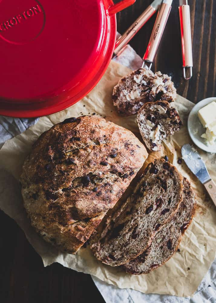 Cozy up with a slice of this cranberry, walnut and dark chocolate Dutch oven bread this winter.