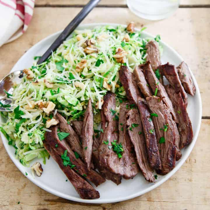 Grilled Skirt Steak with Brussels Sprouts Salad
