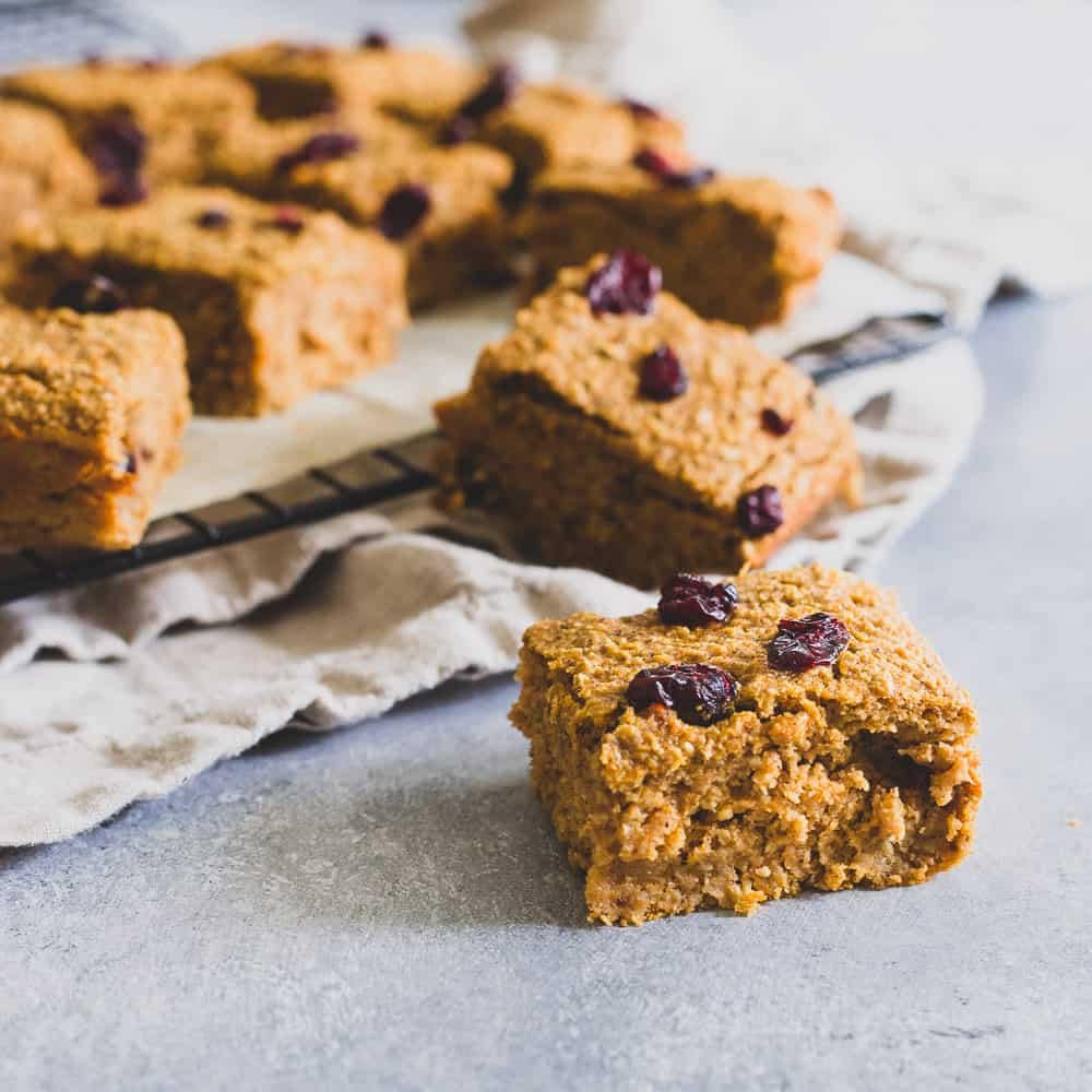 These sweet potato bars made with oats are the perfect healthy snack. Add your favorite mix-ins like dried fruit, nuts or even chocolate chips.