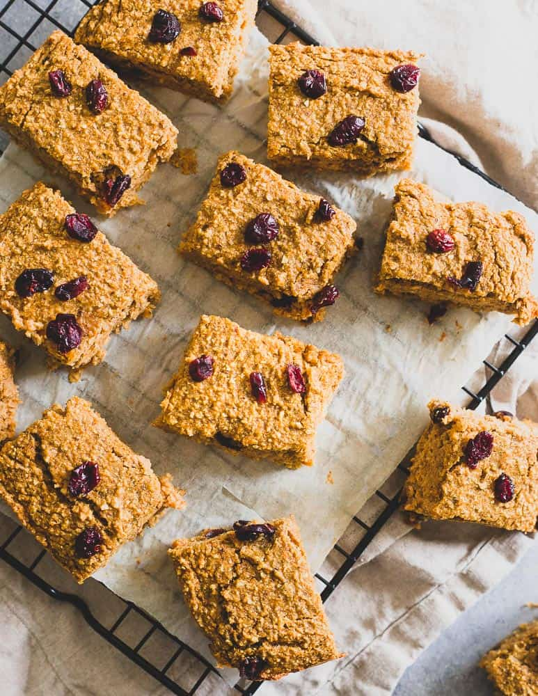 These sweet potato bars make a delicious healthy snack. Add dried cranberries for a festive spin!