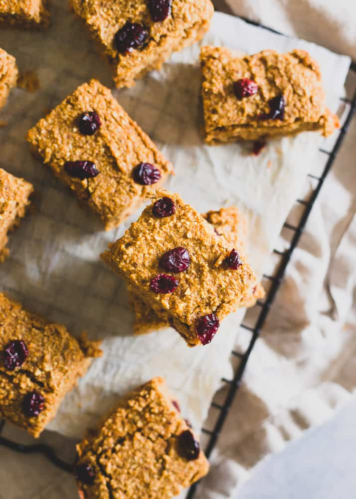 Grab a sweet potato bar for a healthy snack on the go. Slightly sweet, packed with fall spices and perfect with a glass of milk or a dollop of nut butter.