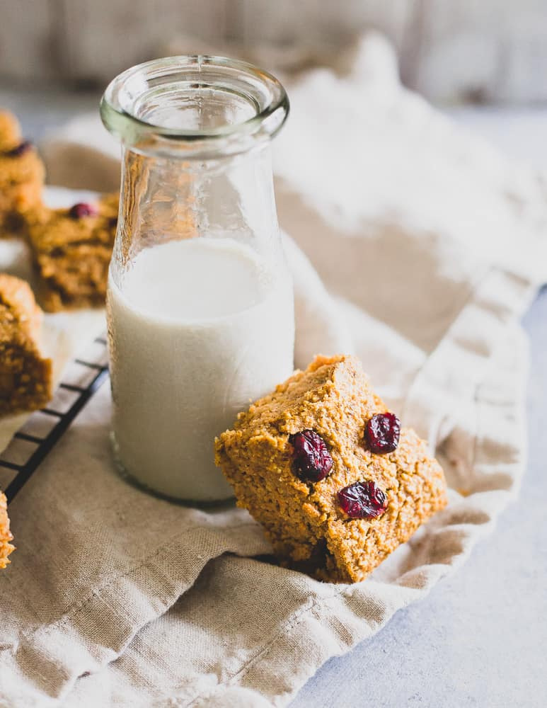 These healthy oat based sweet potato bars can be made with your favorite mix-in. Try dried cranberries for fall, chocolate chips for more of a dessert or nuts for some crunch.