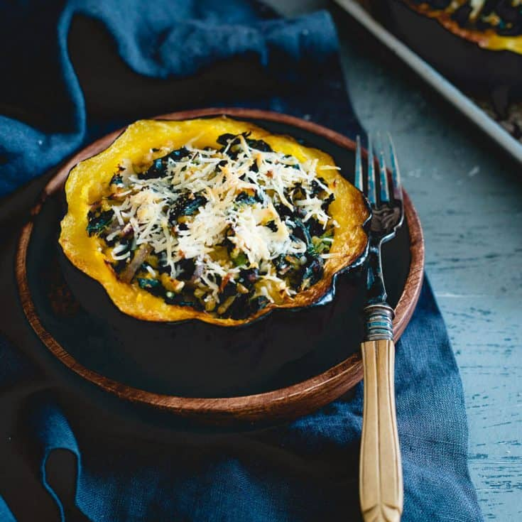 Twice Baked Kale and Pecorino Acorn Squash