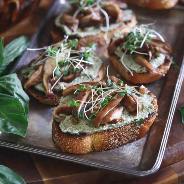 Balsamic Pickled Shiitake Crostini