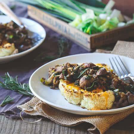 Bison Cheddar Cauliflower Steaks