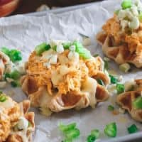 Buffalo Hummus Chicken Waffle Bites