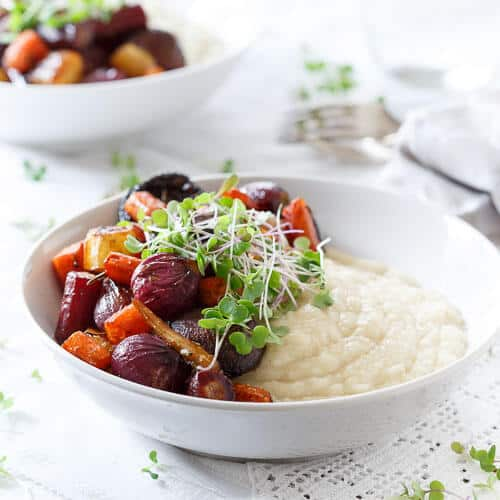 Celery Root Puree with Roasted Balsamic Vegetables