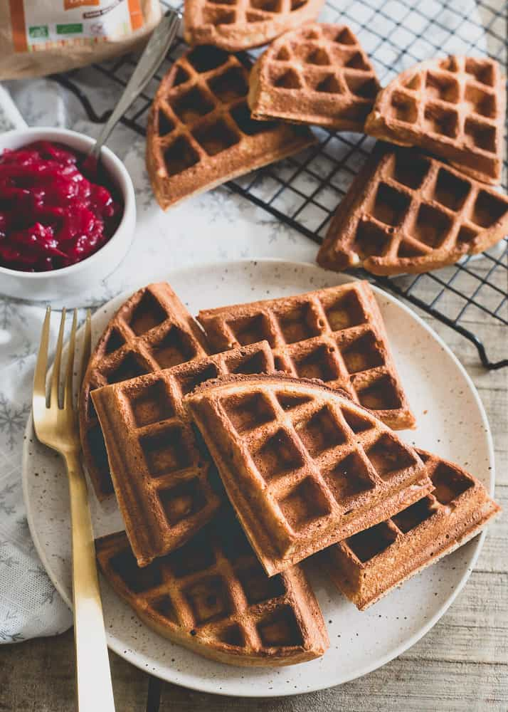 Chestnut flour waffles make a delicious winter breakfast paired with vanilla cranberry compote.