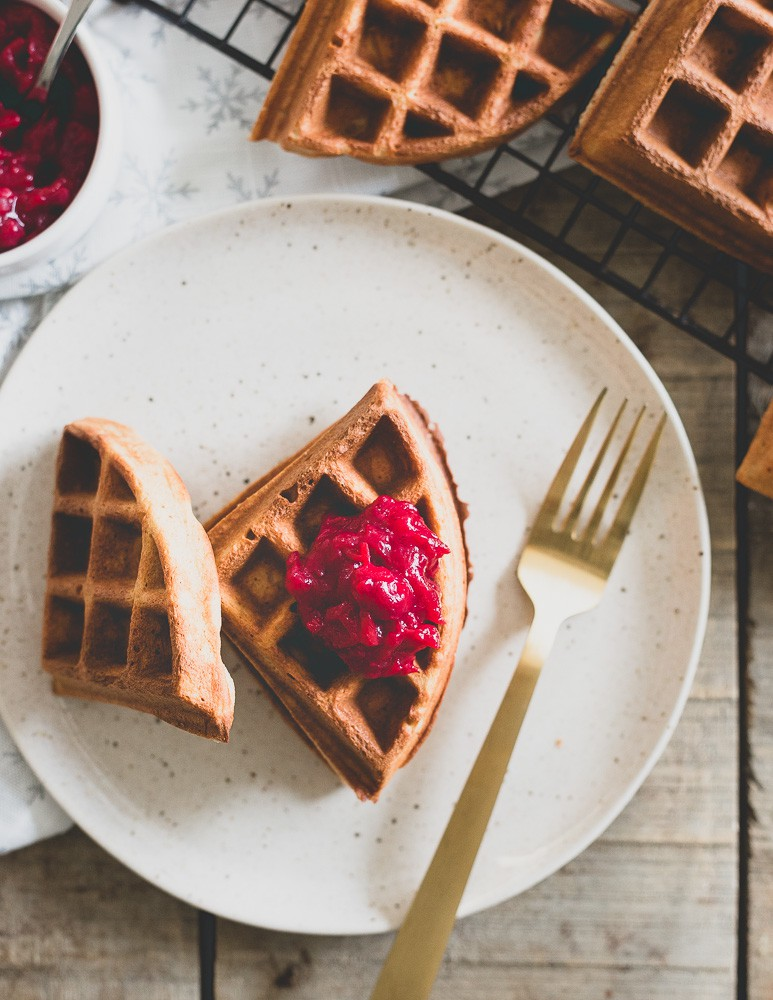 The nutty, earthy tones of these chestnut flour waffles pairs beautifully with the bright and tart cranberry compote.