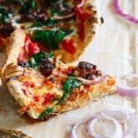Whole Wheat Chorizo Spinach Skillet Pizza