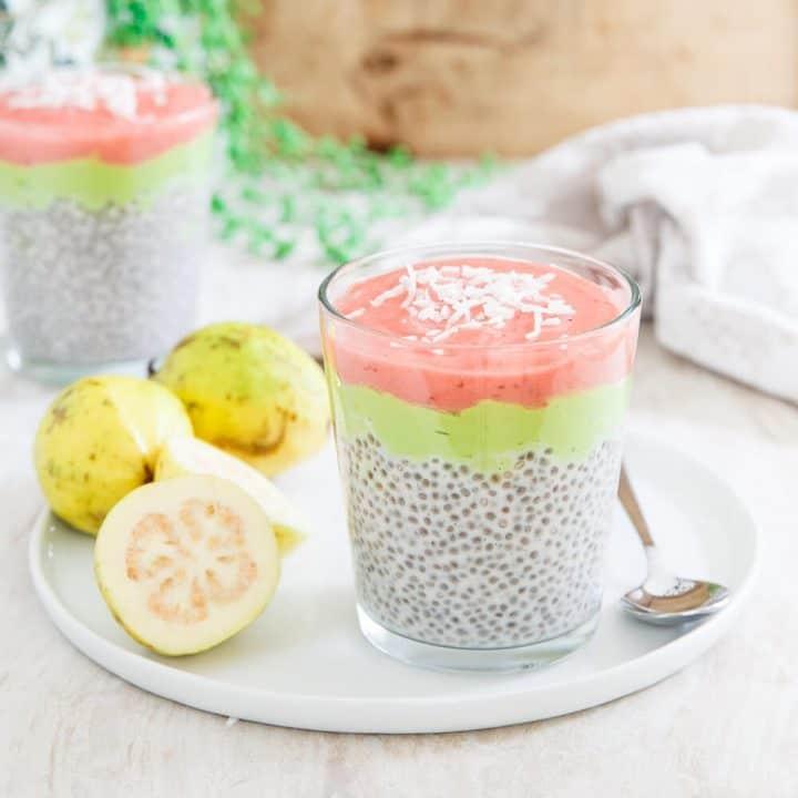 Layered Strawberry Guava Chia Pudding