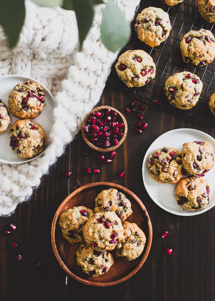 Pomegranates and orange combine in these chocolate chip cookies made with oats for a delicious winter treat.
