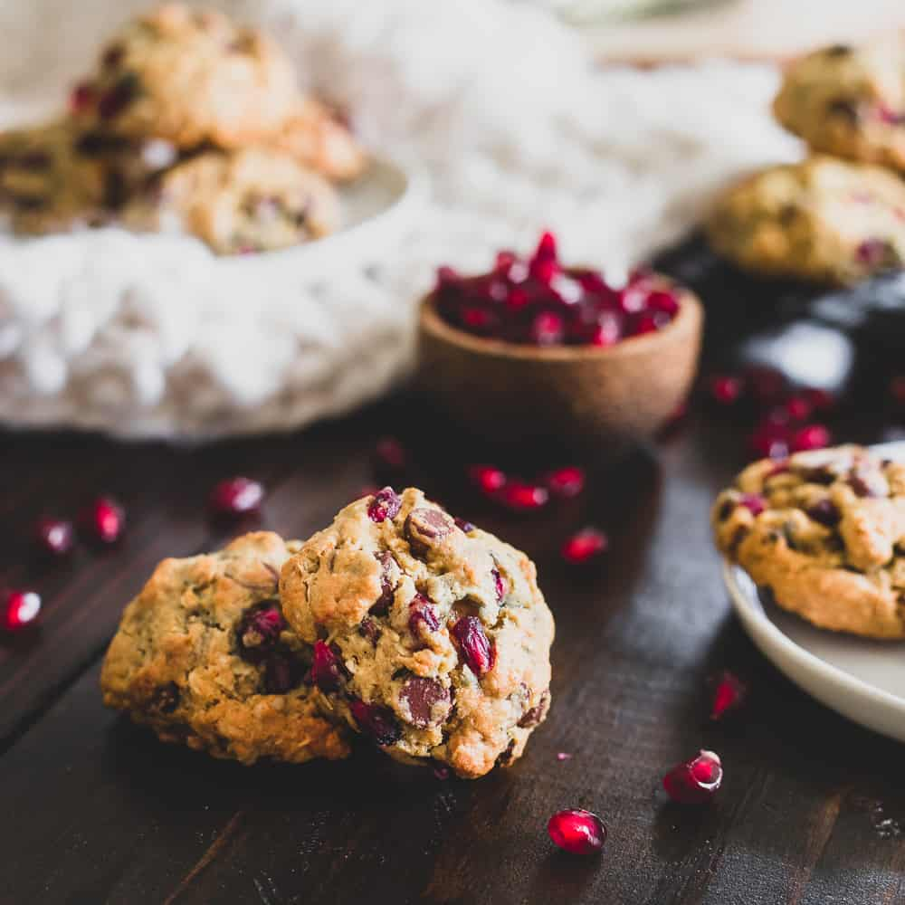 Add these pomegranate oatmeal chocolate chip cookies to your holiday baking plans!