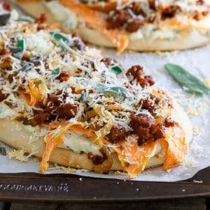 Sage Chorizo Sweet Potato Naan Pizza