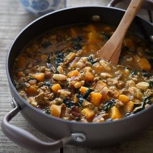 Spiced Pork, Squash and White Bean Soup