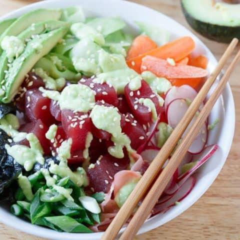 Tuna Sushi Bowl with Avocado Wasabi Dressing