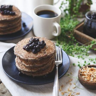 Toasted Coconut Cinnamon Raisin Oat Bran Pancakes