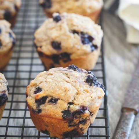 Whole Wheat Wild Blueberry Ginger Muffins