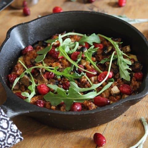 Skillet Cheddar Polenta with Sausage and Cranberries