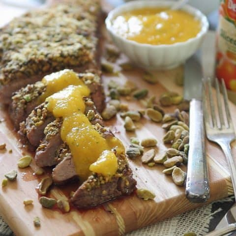 Pistachio Crusted Flank Steak with Peach Puree