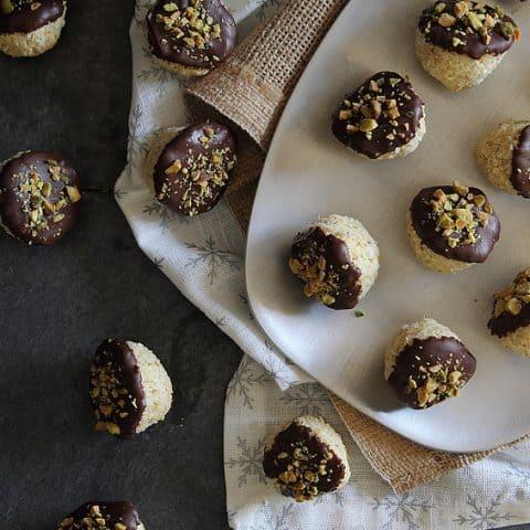Dark Chocolate Dipped Orange Macaroons