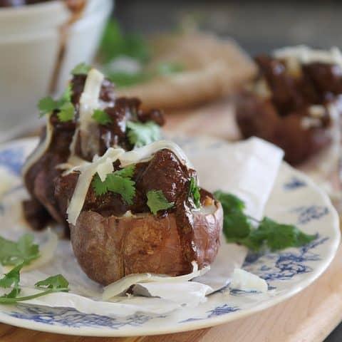Chocolate Red Wine Beef Stew Stuffed Potatoes