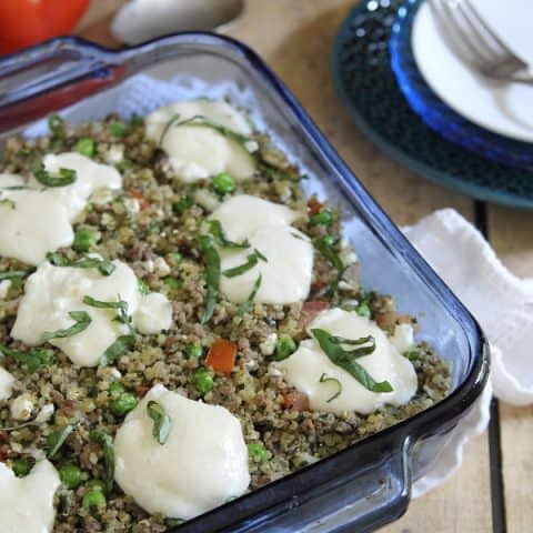 Beef Pesto Quinoa Bake