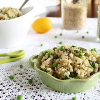 Basil Brown Rice with Lemon and Peas