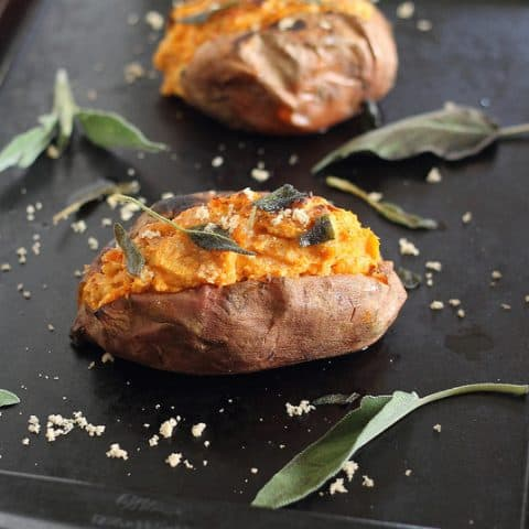 Twice Baked Sweet Potatoes with Cinnamon Cashew Cream