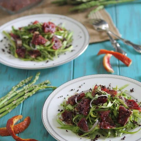 Shaved Asparagus Blood Orange Salad with Toasted Quinoa