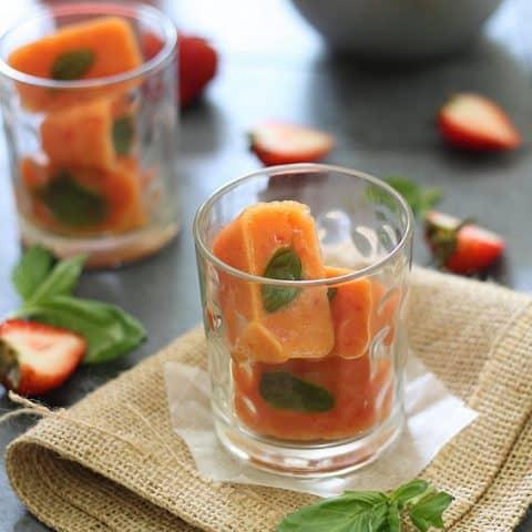 Strawberry Daiquiris with Nectarine Basil Ice Cubes