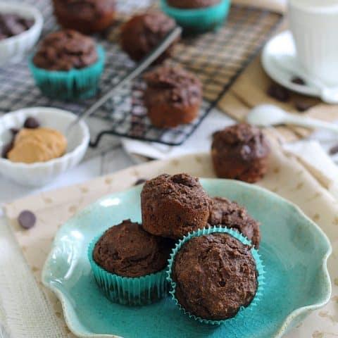 Chocolate Coffee Peanut Butter Muffins
