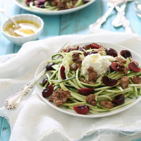 Zucchini Noodles with Sausage, Cherries and Ricotta