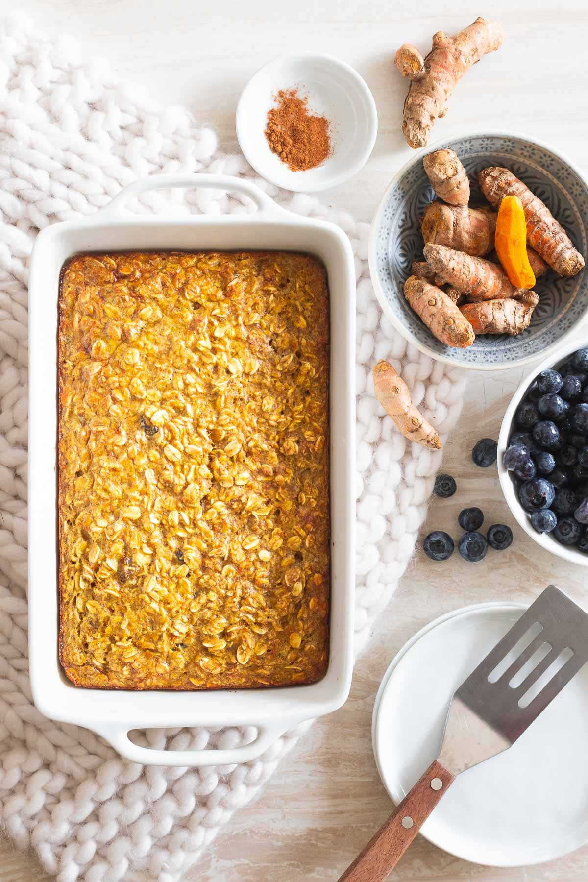 This baked oatmeal with fresh turmeric is healthy and hearty and anti-inflammatory to boost!