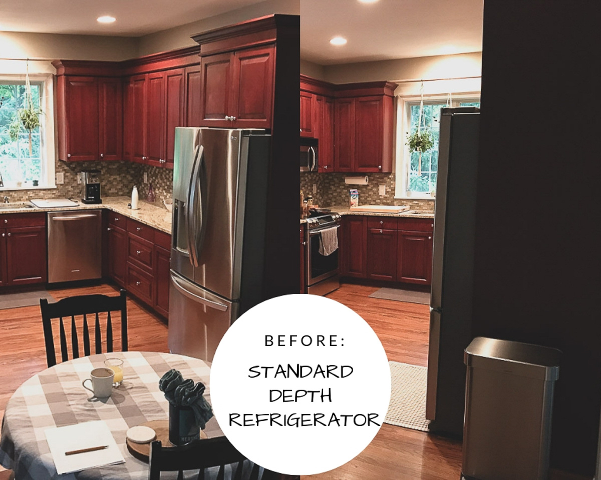Switching out a standard depth refrigerator for a counter depth refrigerator to open up kitchen space.