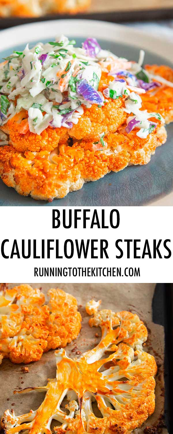Simple buffalo sauce roasted cauliflower topped with creamy blue cheese coleslaw is a healthy game day worthy meal.