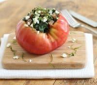 Kale Sausage Stuffed Heirloom Tomato