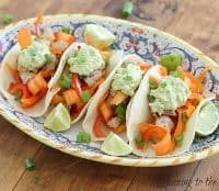 Soy Tuna Tacos with Lime and Spicy Avocado Cream