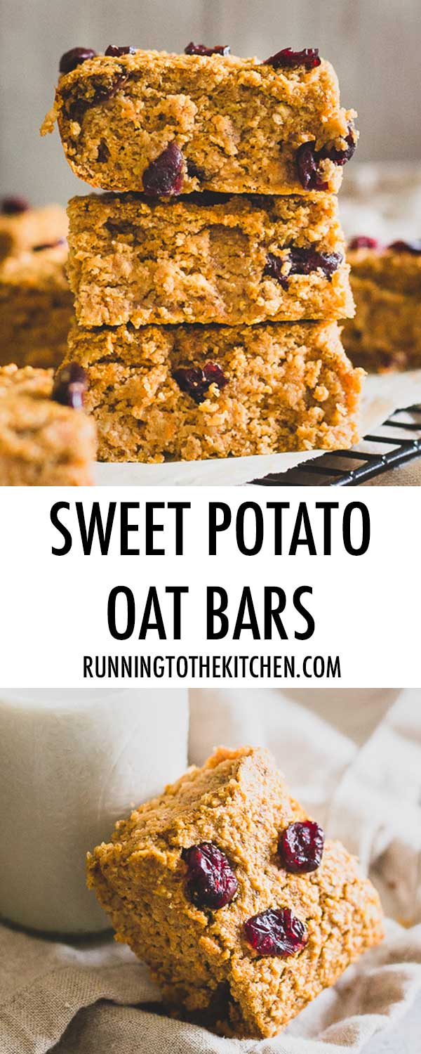 Sweet Potato Bars made with heart healthy oats are a great snack or even breakfast. Add-in your favorite dried fruit or even chocolate chips to customize!