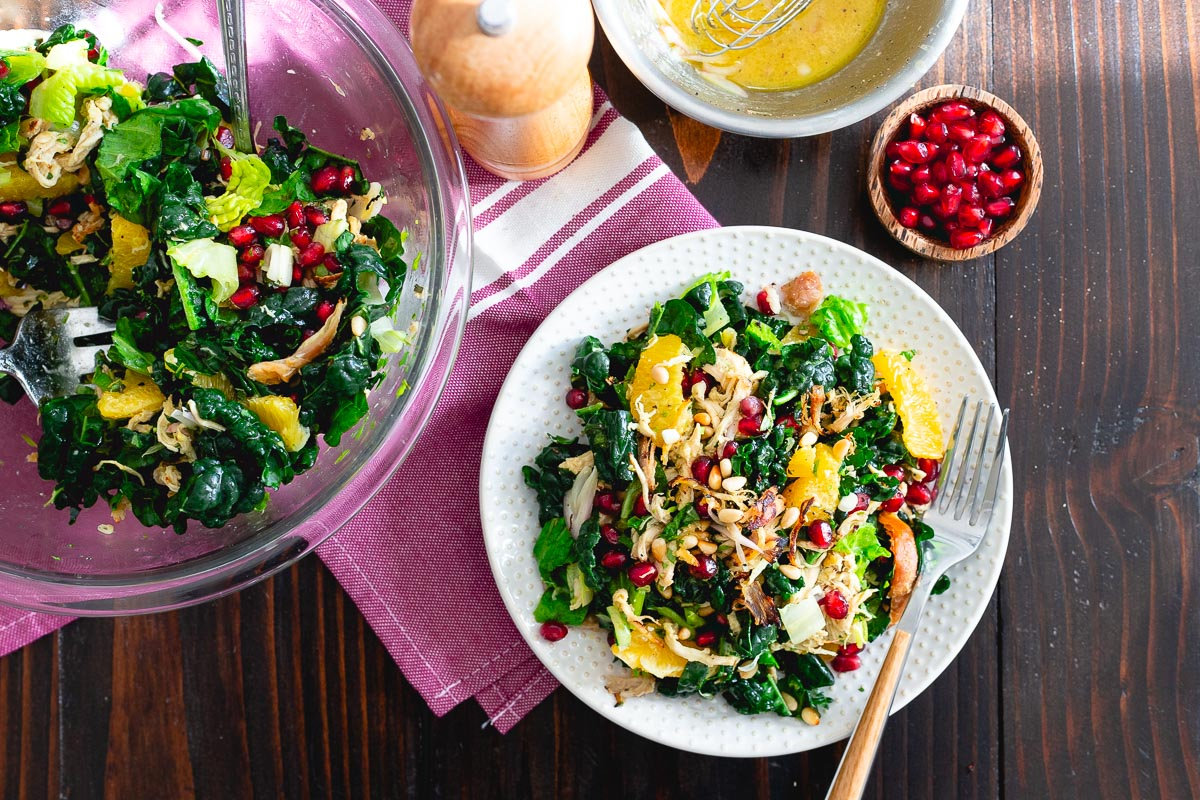 This chopped crispy citrus chicken salad is filled with oranges and pomegranates and tangy orange dijon vinaigrette.