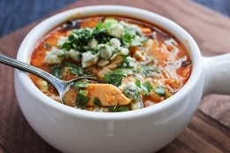 Buffalo Chicken Soup with Orzo