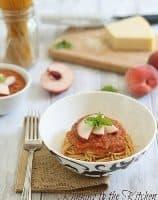 Roasted Tomato Peach Sauce with Spaghetti