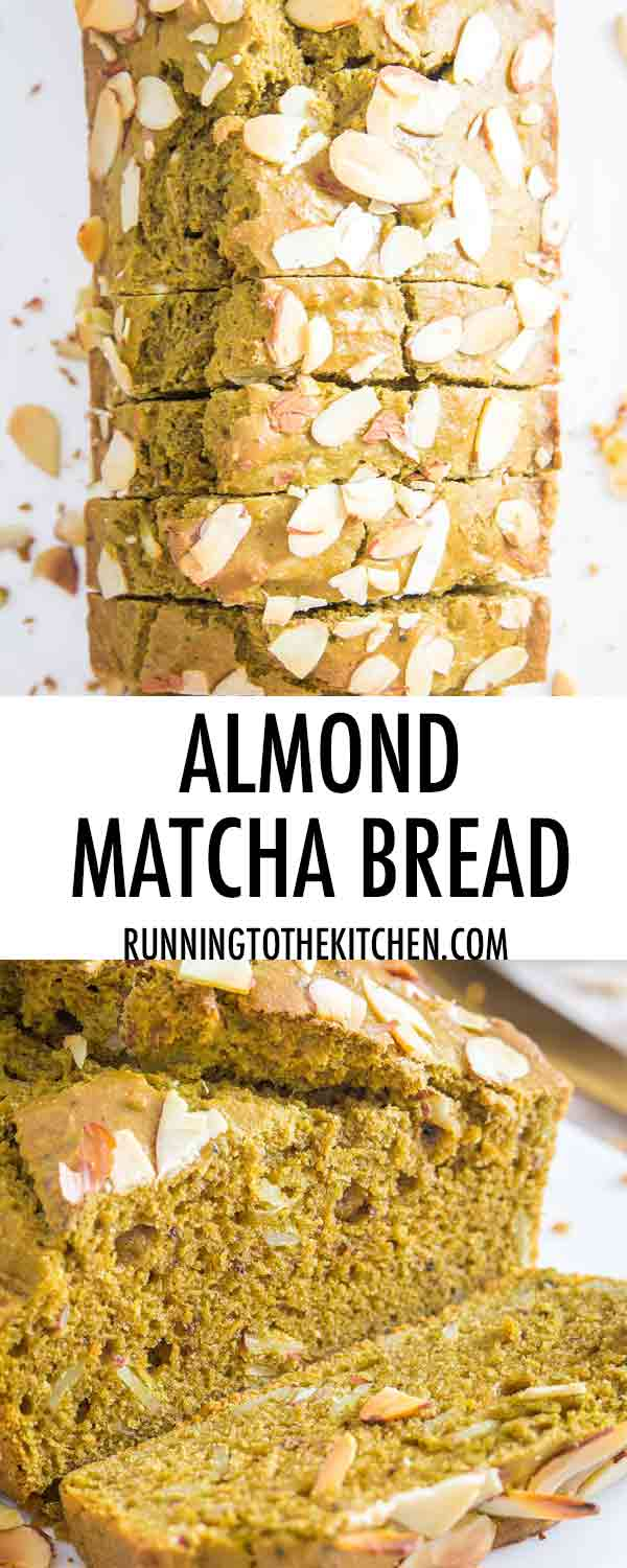 An easy quick bread recipe for matcha green tea bread with almonds.