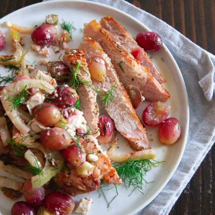 Grilled Pork Chops with Grapes and Fennel