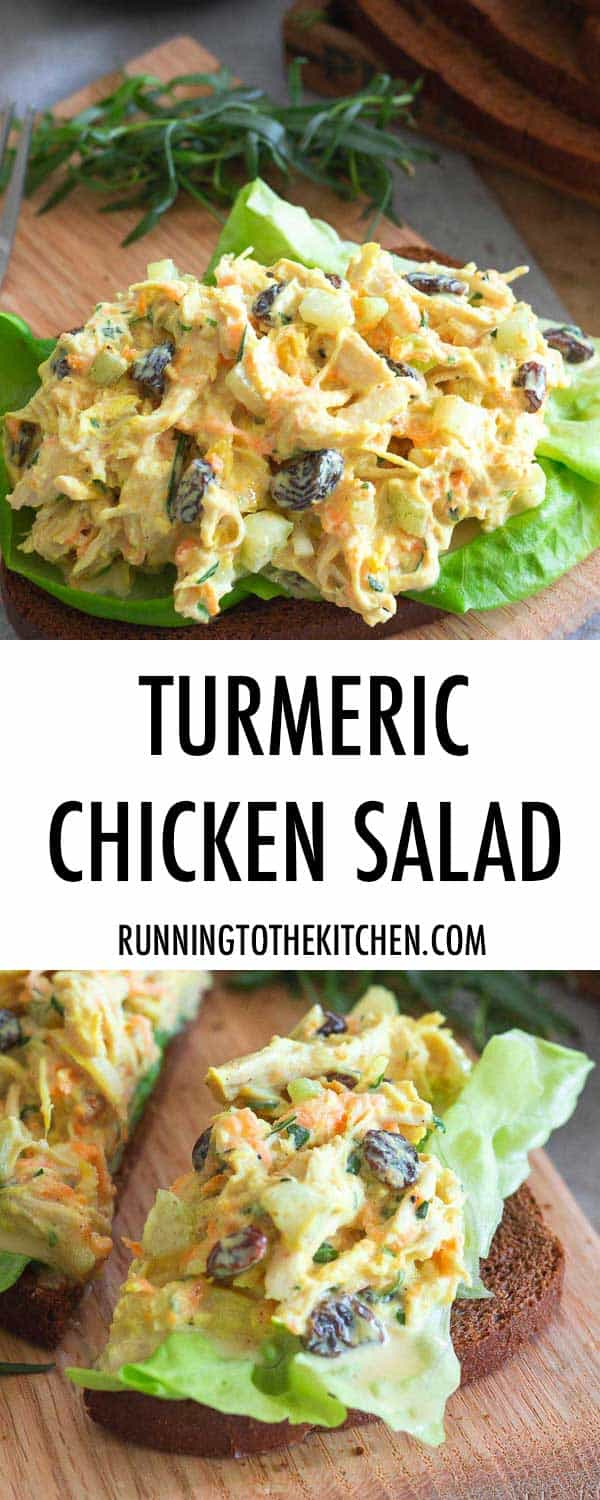Serve this easy and nutritious turmeric chicken salad on toasted bread or lettuce wraps for a quick lunch.