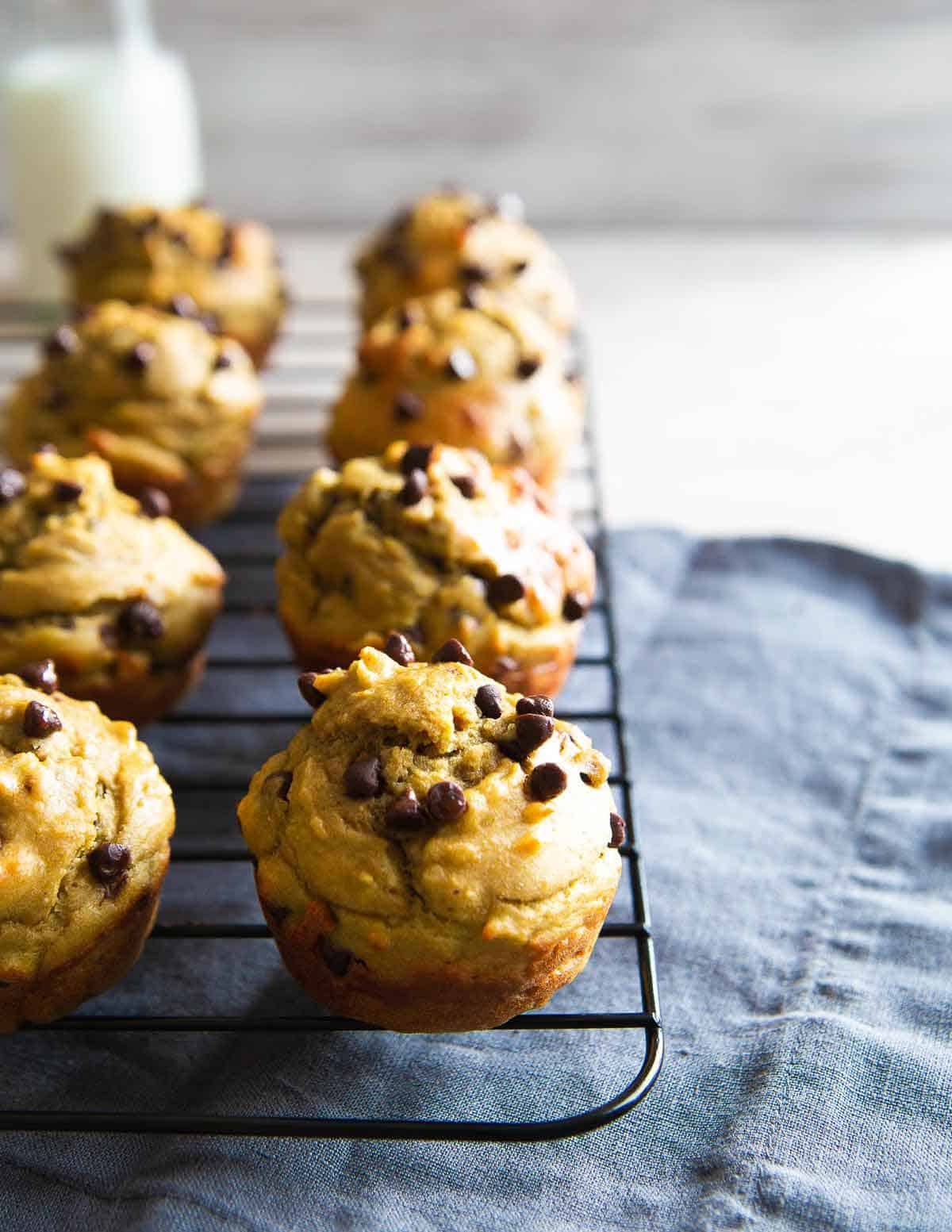 These avocado muffins are packed with healthy fats, made with whole wheat flour and studded with chocolate chips for a fun and satisfying snack.
